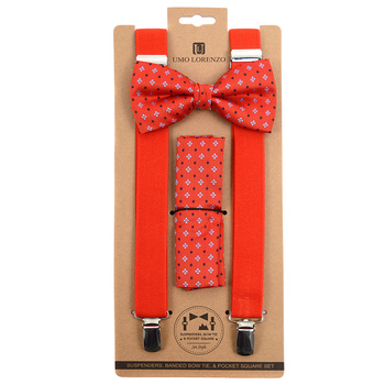3pc Men's Red Clip-on Suspenders, Flower Pattern Bow Tie & Hanky Sets FYBTHSURD5