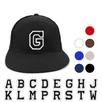 Varsity Letter Initials Solid Flat Bill Embroidery Patch Snapback Cap, Hat