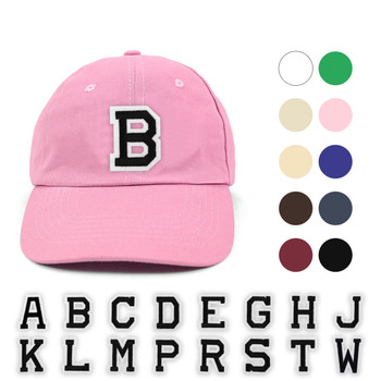 Varsity Letter Initials Traditional Cotton Twill Embroidery Patch Blank Baseball Cap, Hat