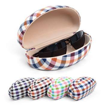 12pc Assorted Traditional Hard Plastic Plaid Glasses Case BST919
