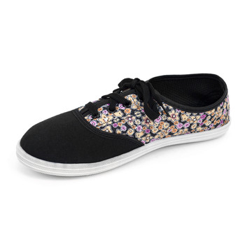 12pcs Women's Black Floral Canvas Flat Casual Shoes Sneakers SH1100-BLACK