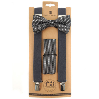 3pc Men's Charcoal Clip-on Suspenders, Textured Bow Tie & Hanky Sets FYBTHSU-GRY7