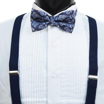 3pc Men's Navy Clip-on Suspenders, Paisley Bow Tie & Hanky Sets FYBTHSU-NV4