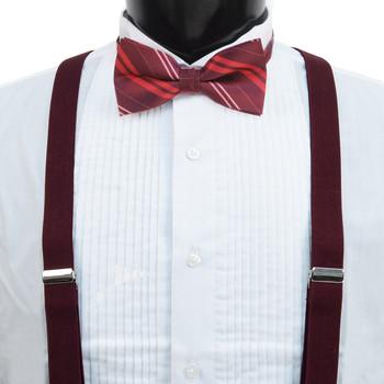 3pc Men's Burgundy Clip-on Suspenders, Double Striped Bow Tie & Hanky Sets FYBTHSU-BURG4