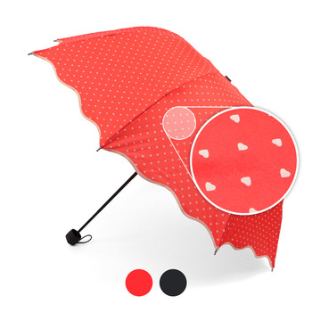 Telescopic Hand Open Umbrella with Hearts Pattern & Wavy Border UM1701