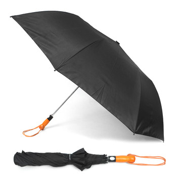 Black Telescopic Umbrella with Wooden Handle UM1702