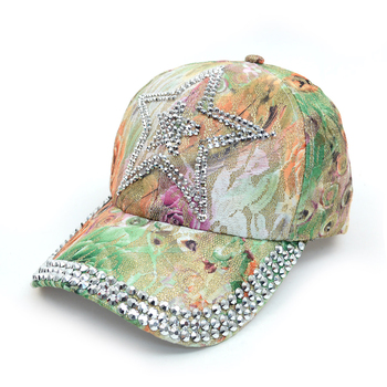 """Star"" Bling Studs Green Flower Baseball Cap, Hat CFP10185G"