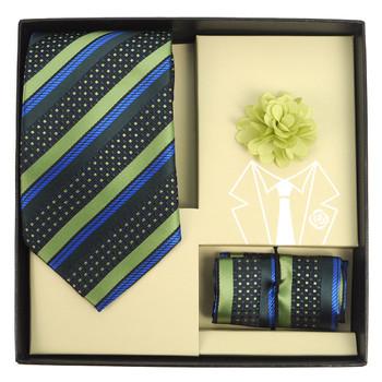 Striped Pattern Tie, Hanky & Lapel Pin Box Set THLB07077M