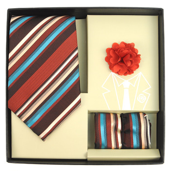 Striped Pattern Tie, Hanky & Lapel Pin Box Set THLB07047M