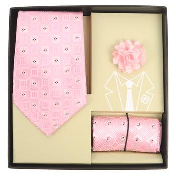Geometric Pattern Tie, Hanky & Lapel Pin Box Set THLB07062M