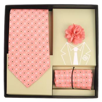 Geometric Pattern Tie, Hanky & Lapel Pin Box Set THLB07053M