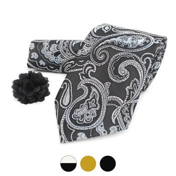 Paisley Pattern Tie, Hanky & Lapel Pin Box Set THLB07035M