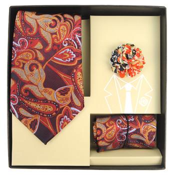 Paisley Pattern Tie, Hanky & Multi Colored Lapel Pin Box Set THLB07065