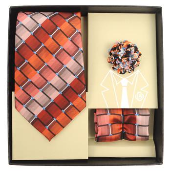 Striped Geometric Pattern Tie, Hanky & Multi Colored Lapel Pin Set THLB07069M