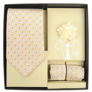 Square Pattern Tie, Matching Hanky & Lapel Pin Set THLB07073M