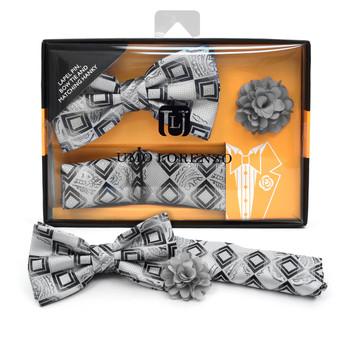 Geometric Paisley Pattern Banded Bow Tie, Matching Hanky & Gray Lapel Pin Set BTHLB07029