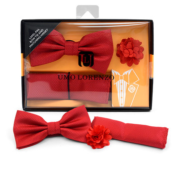 Solid Textured Banded Bow Tie, Matching Hanky & Red Lapel Pin Set BTHLB07034