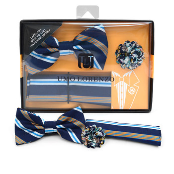 Striped Banded Bow Tie, Matching Hanky & Multi Color Lapel Pin Set BTHLB07045