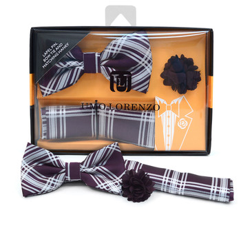 Plaid Banded Bow Tie, Matching Hanky & Purple Lapel Pin Set BTHLB07060