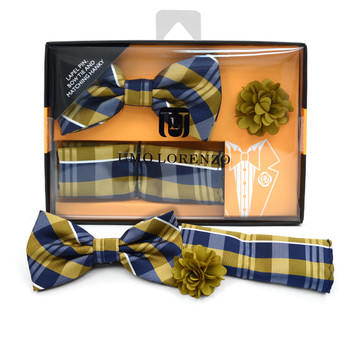 Plaid Banded Bow Tie, Matching Hanky & Gold Lapel Pin Set BTHLB07065