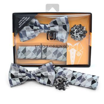 Geometric Banded Bow Tie, Matching Hanky & Gray Lapel Pin Set BTHLB07046