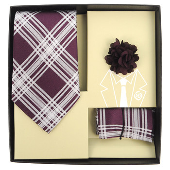 Plaid Tie, Matching Hanky & Lapel Pin Box Set THLB07070