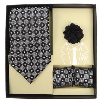Dotted Geometric Tie, Matching Hanky & Lapel Pin Box Set THLB07041