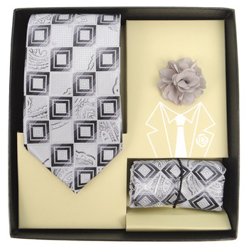 Geometric Paisley Pattern Tie, Matching Hanky & Lapel Pin Set THLB07039