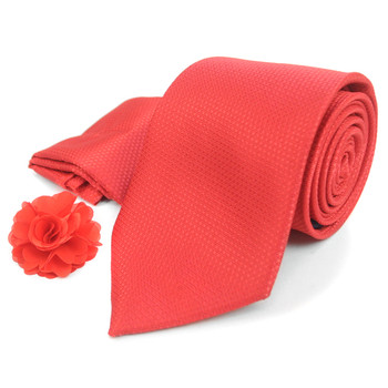 Solid Textured Tie, Matching Hanky & Lapel Pin Box Set THLB07044