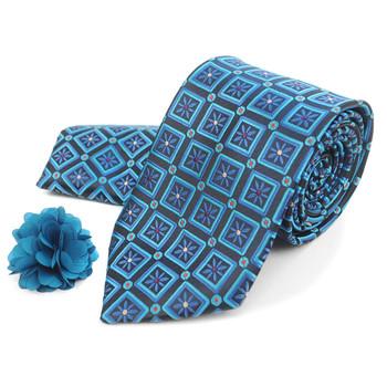 Geometric Floral Tie, Matching Hanky & Lapel Pin Box Set THLB07052