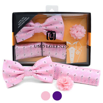 Geometric Pattern Banded Bow Tie, Matching Hanky & Lapel Pin Set BTHLB07052M