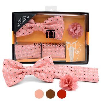 Geometric Pattern Banded Bow Tie, Matching Hanky & Lapel Pin Set BTHLB07043M