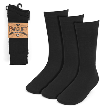 Assorted Pack (3 Pairs) Men's Solid Black Fancy Dress Socks 3PKS-DRSY10
