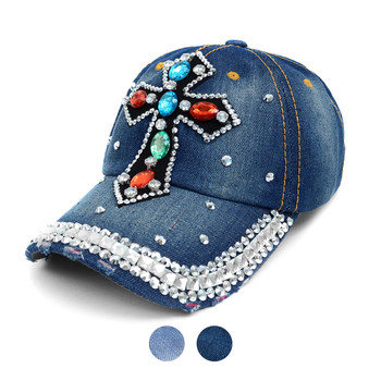 Cross Bling Studs Denim Baseball Cap CP9612