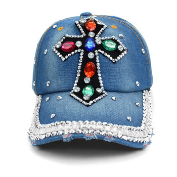 """Cross"" Bling Studs Denim Baseball Cap CP9612"