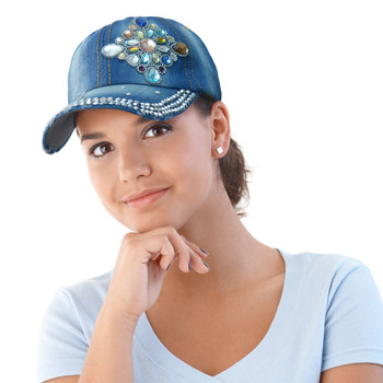 """Diamond Emblem"" Bling Studs Denim Baseball Cap CP9611"