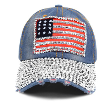 American Flag Bling Studs Denim Baseball Cap CP9607
