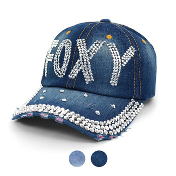 """FOXY"" Bling Studs Denim Baseball Cap CP9605"