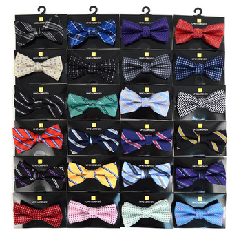24pc Assorted Boy's Mixed Pattern Poly Woven Banded Bow Ties