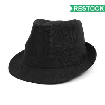 Spring/Summer Solid Black Westend Trilby Fedora Hat H10332N