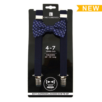 Boy's Navy Clip-on Suspender & Matching Bow Tie Set(4~7 Years)