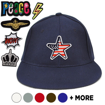 Patched Solid Flat Bill Snapback Cap - FBFCAP2SP