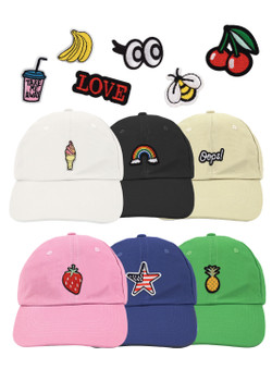 12pc Assorted Patched Promotional Solid Blank Baseball Cap CAP1PASST