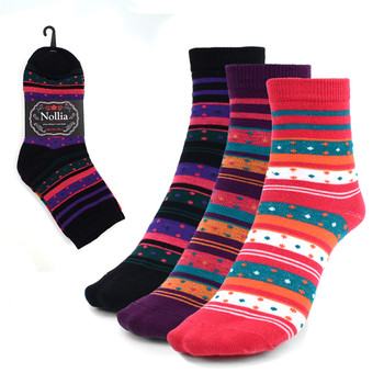 3 Pairs Assorted Pack Women's Crew Socks 3PKS-WCS5