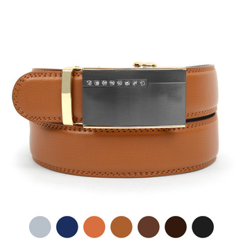 Men's Genuine Leather Sliding Buckle Ratchet Belt MGLBB38