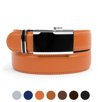 Men's Genuine Leather Sliding Buckle Ratchet Belt MGLBB36