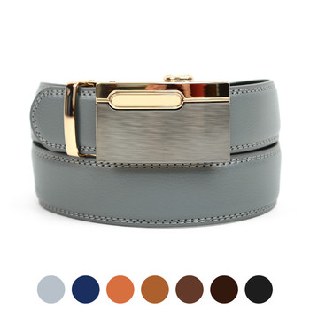 Men's Genuine Leather Sliding Buckle Ratchet Belt MGLBB12
