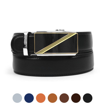 Men's Genuine Leather Sliding Buckle Ratchet Belt MGLBB17