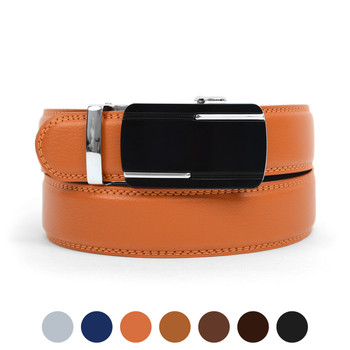 Men's Genuine Leather Sliding Buckle Ratchet Belt MGLBB30