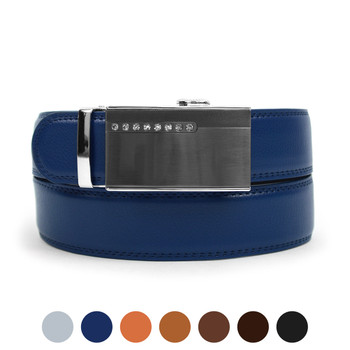 Men's Genuine Leather Sliding Buckle Ratchet Belt MGLBB37